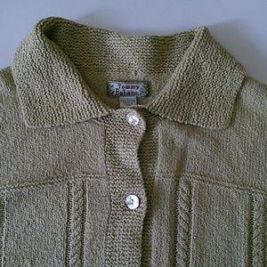 Tommy Bahama slub cotton  sweater cardigan L